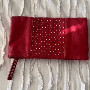 Express • Red Studded Leather Clutch